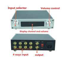 Streo Remote Volume Conrol preamp with Treble Bass Tone Controller Pre amp pre amplifier HIFI audio 4 in 1 out for power amp