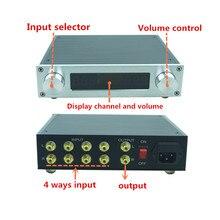 Treble Bass Tone 컨트롤러가있는 Streo 원격 볼륨 조절 프리 앰프 Pre amp 프리 앰프 HIFI audio 4 in 1 out for power amp