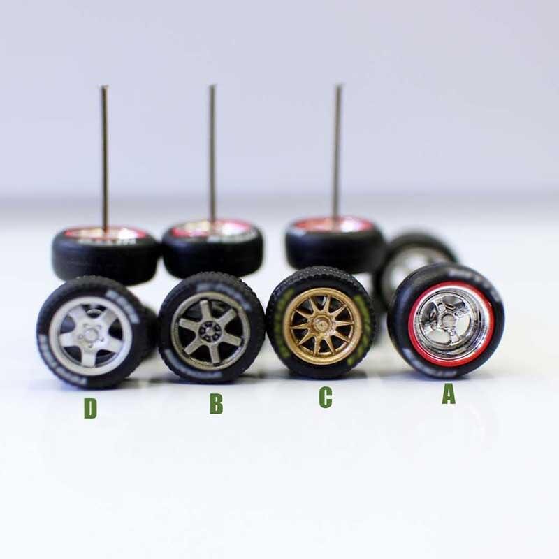 1/64 Scale Refined Simulation Car Model Universal Refit Series Wheel Trolley Retrofit Wheel Rubber Tire Wind Wheel Model