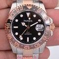 Роскошные 40 мм Parnis с сапфирами и кристаллами GMT автоматические механические светящиеся мужские часы с вращающимся ободком