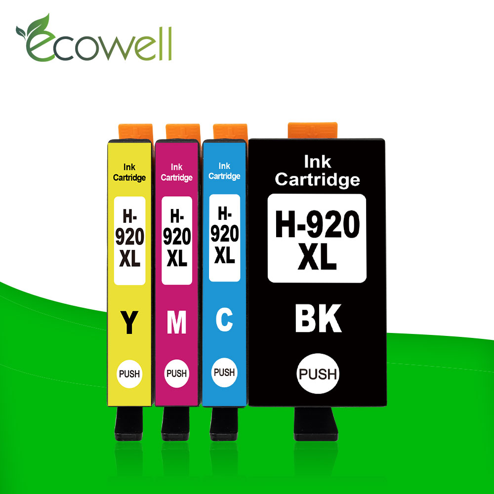 Ecowell 1set 920 compatible ink cartridge for <font><b>HP</b></font> 920XL For HP920 Officejet 7000 7500 7500A 6000 <font><b>6500</b></font> 6500A <font><b>printer</b></font> with chip image