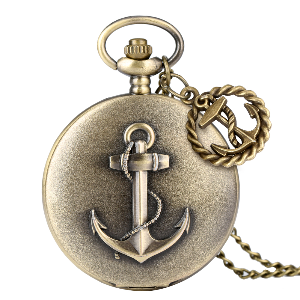 Retro Sailing Quartz Pocket Watch Ship Anchor Pattern Cover Foremast Hand Marine Slim Chain Pendant Watch Necklace Gift