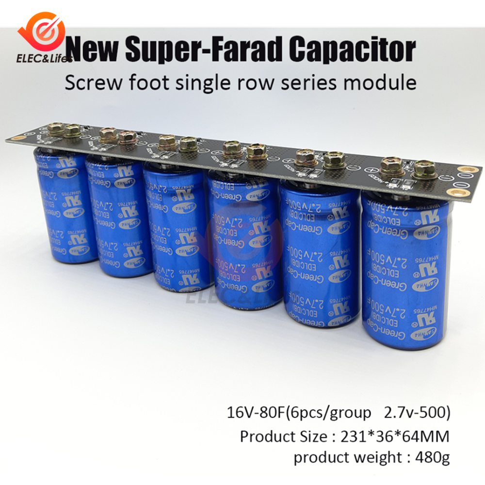 Farad Capacitor 2.7V 500F 6 Pcs/1 Set Super Capacitance 16V 83F Super Farad With Protection Board Car Automotive Ultracapacitor