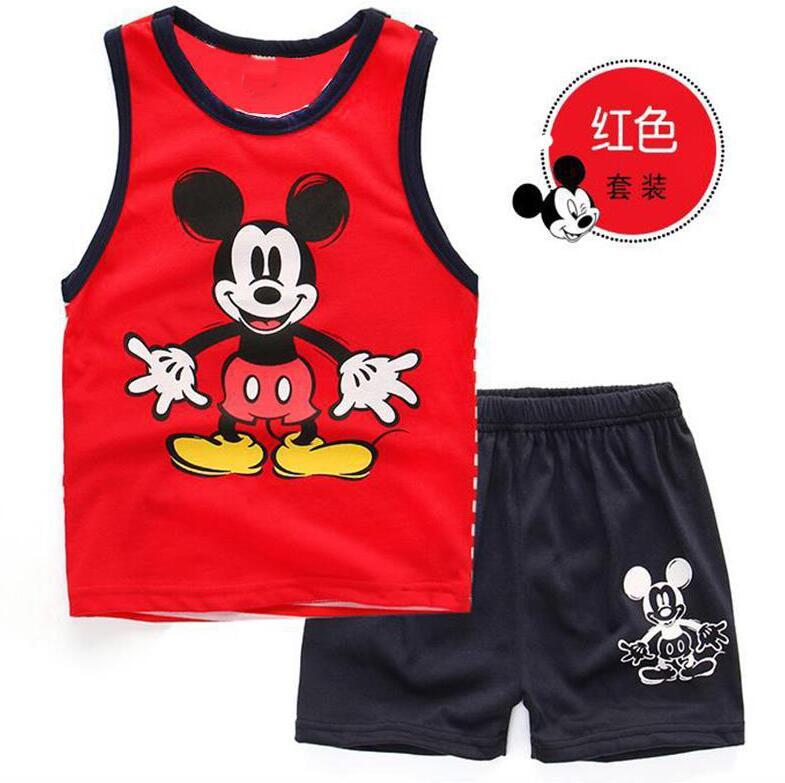 Kids Clothes Summer Mickey  Boys Clothing Cotton Sleeveless Top+pant 2pcs Kids Sport Suit Boy Clothes Set