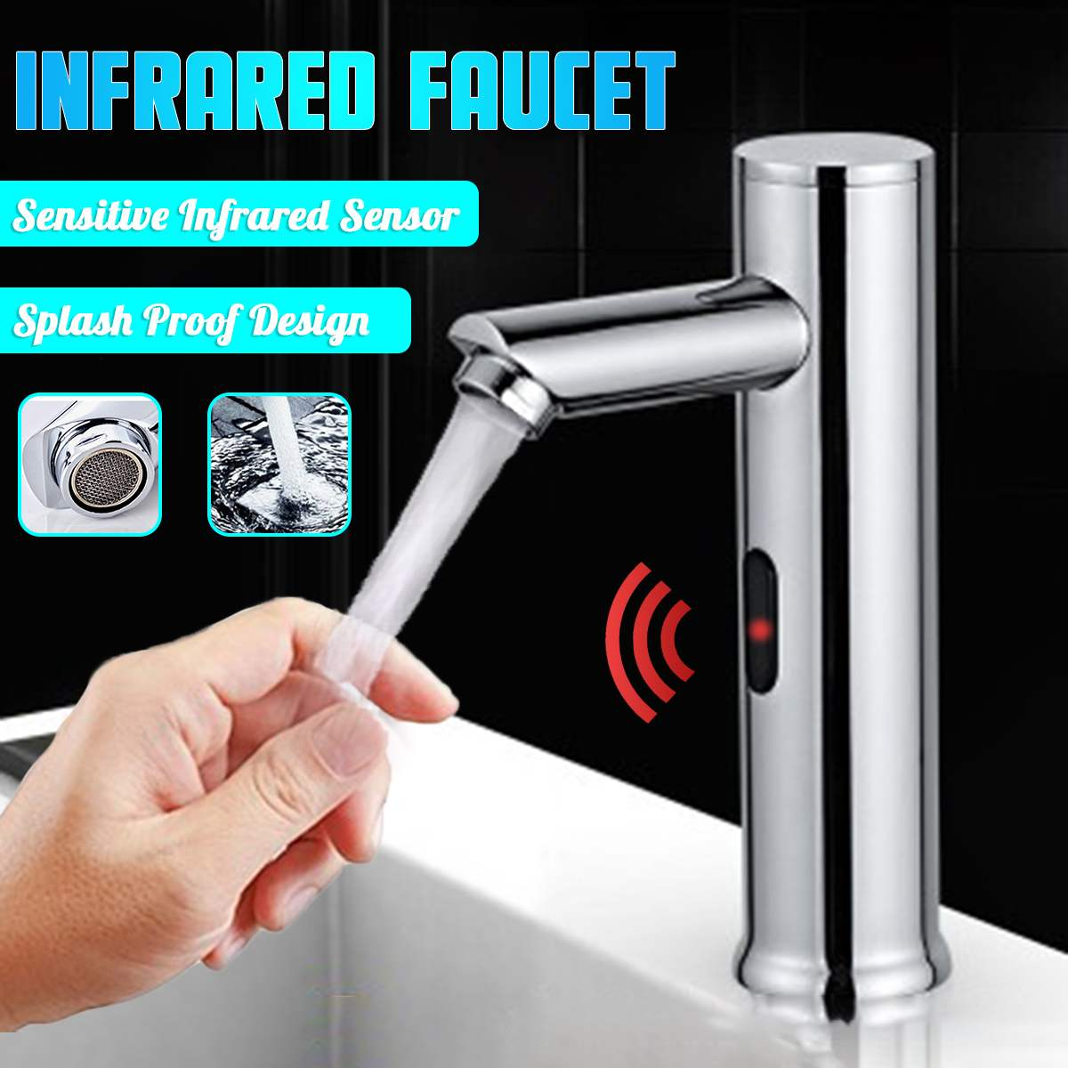 Bathroom Automatic Infrared Sensor Sink Faucet Touchless Basin Water Tap DC 6V Battery Water Saving Cold And Hot Water Mixer Tap
