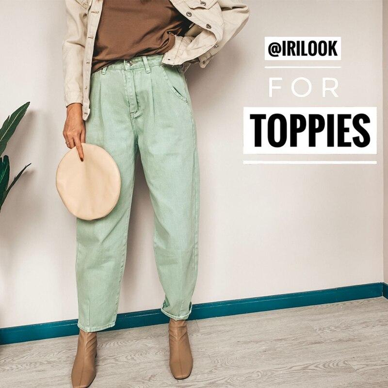 Calças de brim Das Mulheres de Cintura Alta Harem Pants 2019 calças de Brim Frouxas Calças Plus Size Mulheres Streetwear Casual Pantalon Femme