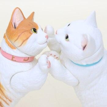 цена на 10CM Yamaguchi Animal Figure White Yellow Cat PVC Action Figure Joint movable Short-legged cat Collection Model Toys Gift