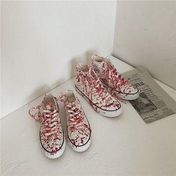 Para moda komfort brezentowych butów kobiety mężczyźni wysokie trampki damskie buty wulkanizowane Graffiti Trend Casual mieszkania Sneakers tanie i dobre opinie SONDR PŁÓTNO CN (pochodzenie) Niska (1 cm-3 cm) Adult Lato Sznurowane Dobrze pasuje do rozmiaru wybierz swój normalny rozmiar