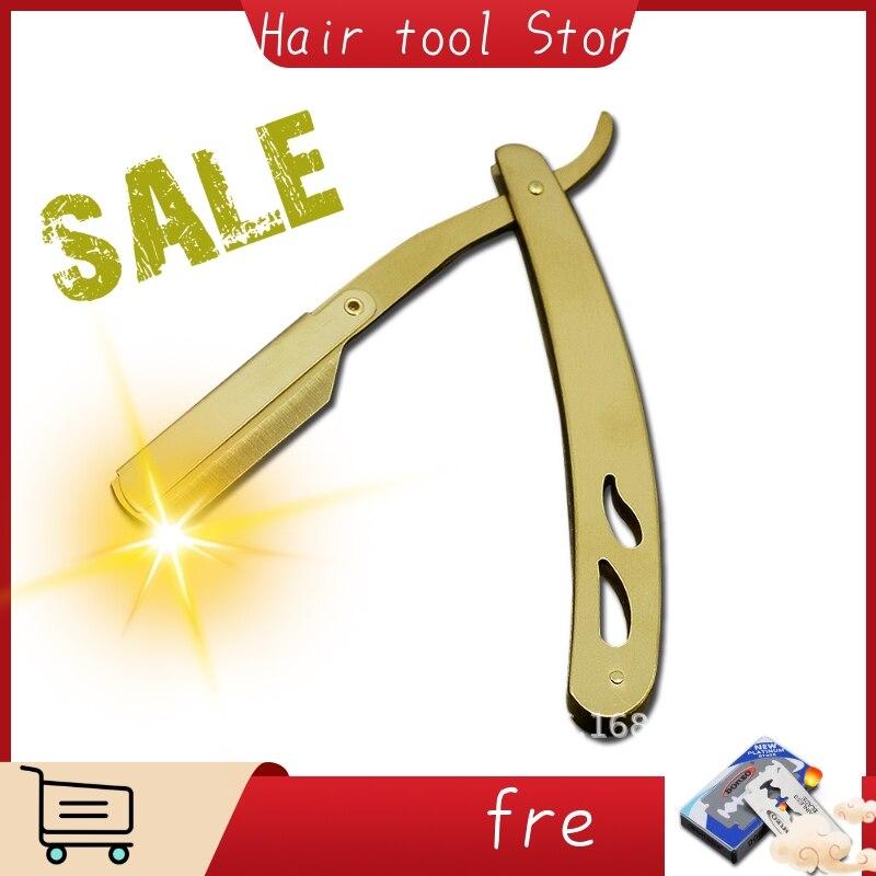 1 Set Of Men's Straight Hairdresser Razor Hair Removal Shaving Armpit Hair Pubic Hair Folding Razor Hair Removal Tool And 1blade