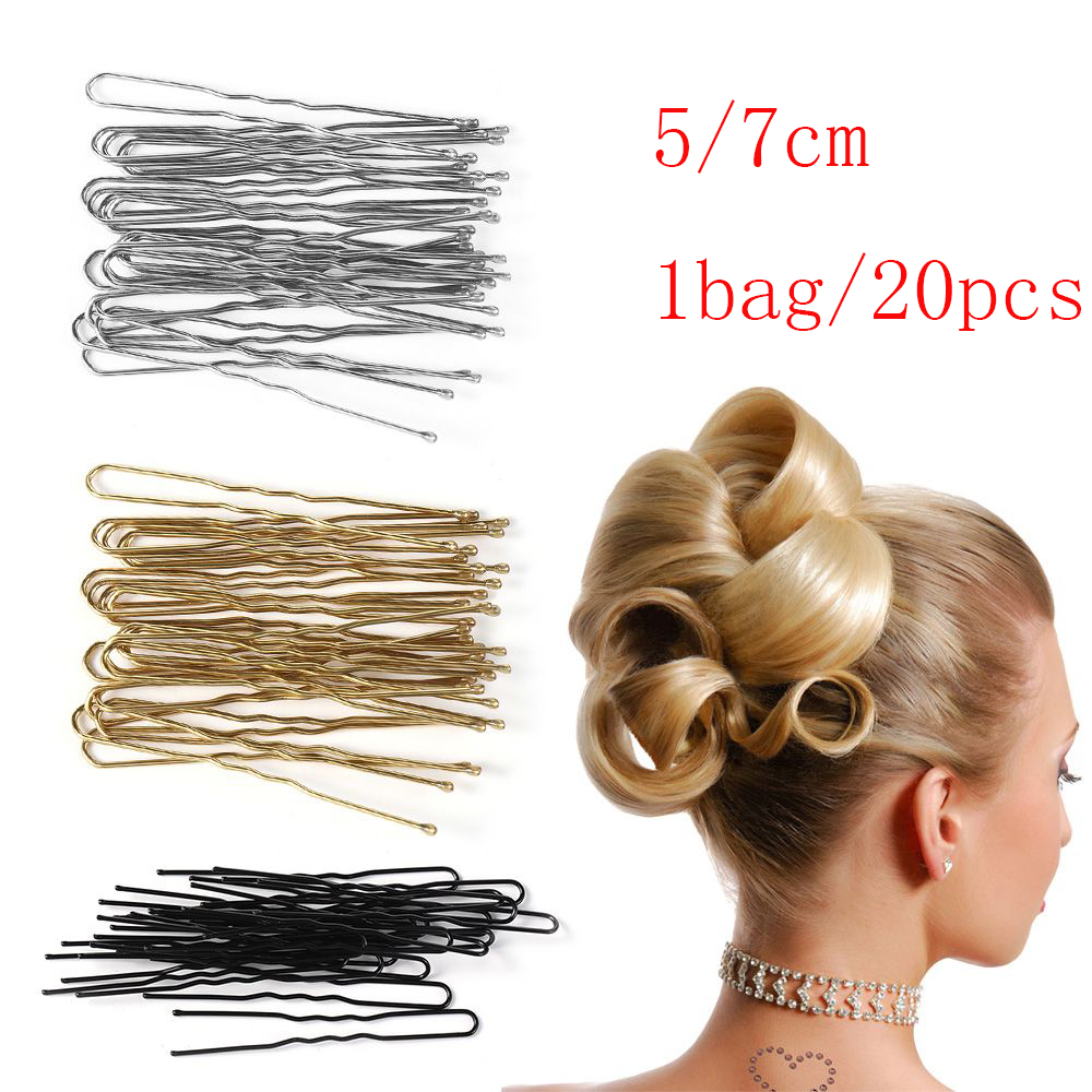 20pcs/lot 5/7cm 4Colors U Shaped Hairpin Hair Clips Pins Metal Barrette Women Hair Styling Tools Accessories Braided Hair Tool
