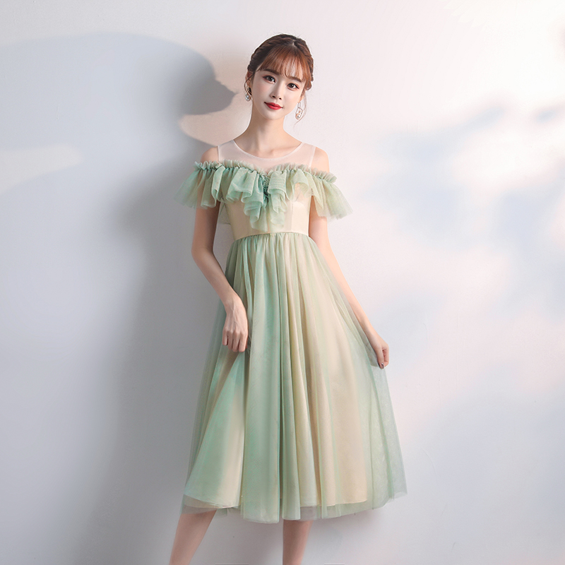 Green Plus Size Tulle Bridesmaid Dress Tea Length Woman Dresses For Party And Wedding Sleeveless Sexy Prom Dress Sister Vestidos