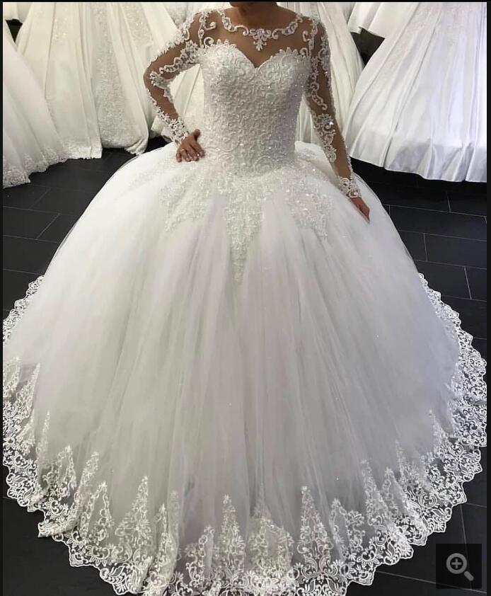 Vestidos De Noiva 2020 Ball Gown Long Sleeve Wedding Dress Pearls Illusion Neck Lace Appliques Princess Wedding Gown Hot Sale
