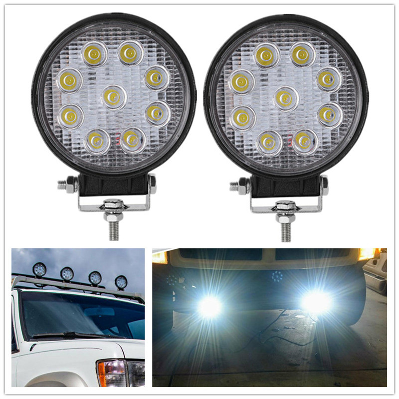 2PCS Round LED Spotlight 27W LED Bar Spot 24V 12V Work Light Lamp Fog LED Driving Lights SUV 9led Work Lights For Tractors