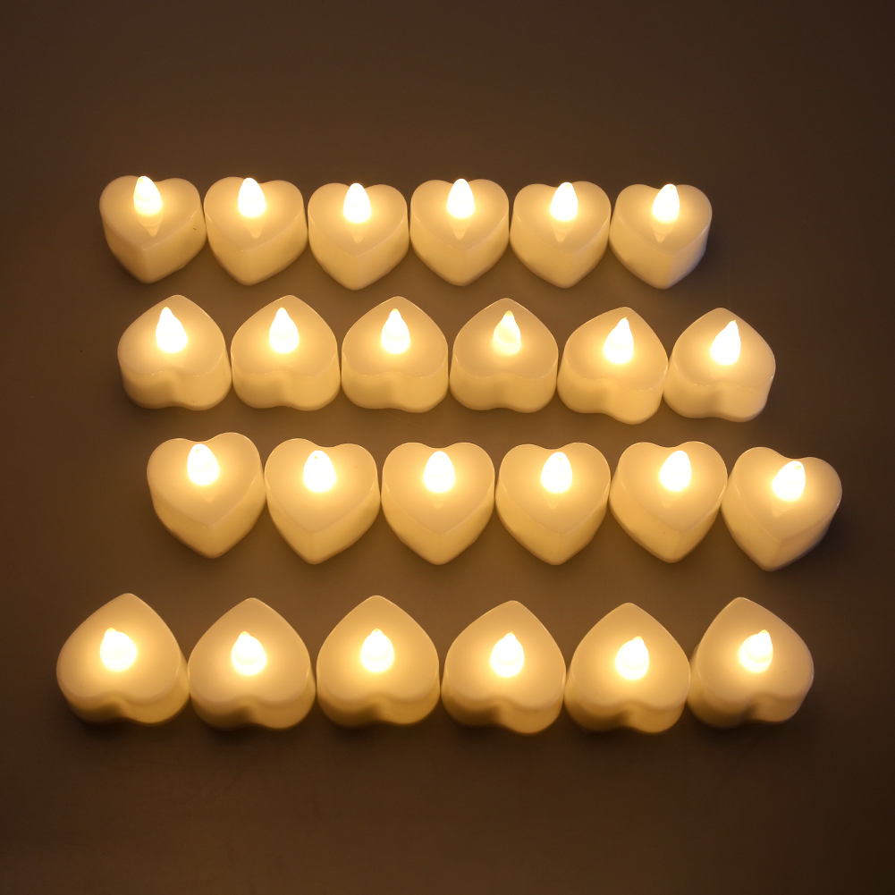 24 Flameless Small Led Candle For Home Christmas Party Wedding Decoration Heart-shaped Electronic Tealight Candles Battery-Power