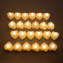 Led Candle Wedding-Decoration Heart-Shaped Battery-Power Small 24-Flameless Electronic