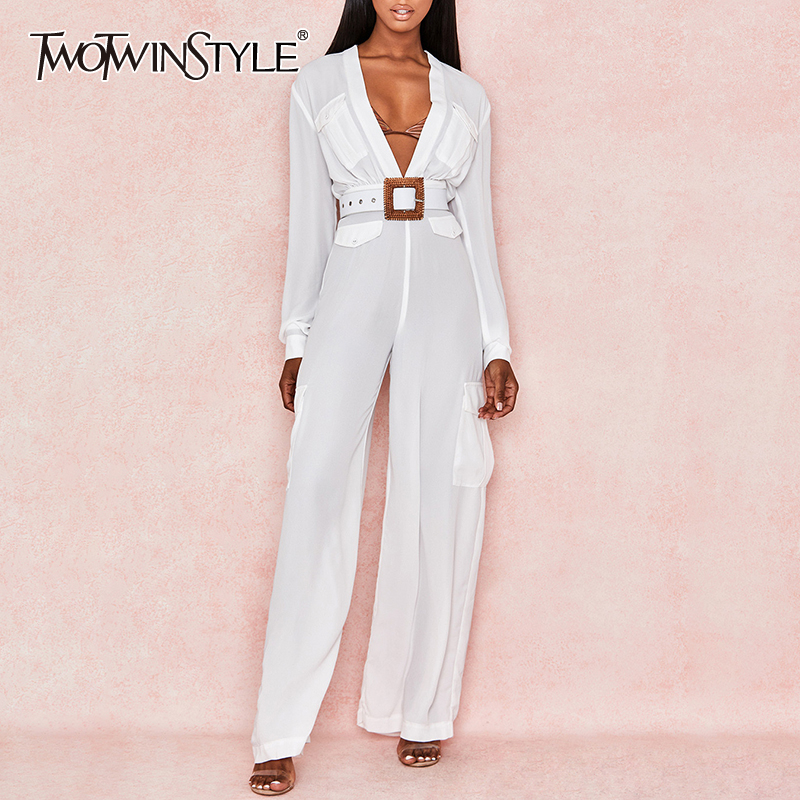 TWOTWINSTYLE Sexy Evening Party Jumpsuit Women V Neck Long Sleeve High Waist Sashes Wide Leg Pants Jumpsuits Female 2019 Summer