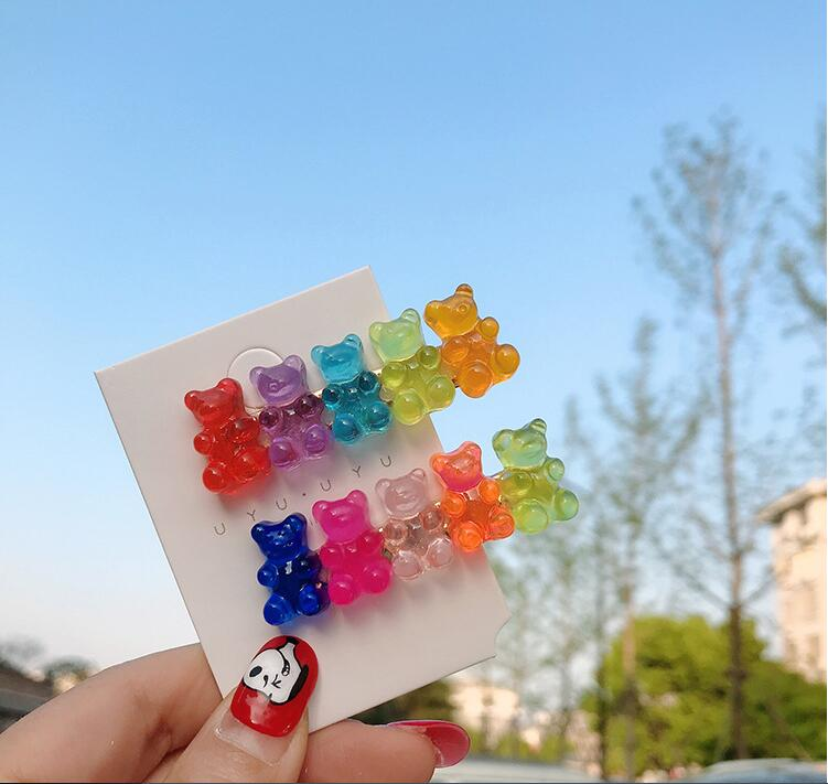 Ins Colorful Candy Color Bear Hair Clip Jelly Hairpins Childlike Bangs Clip Girl Heart Hair Ornament Headdress