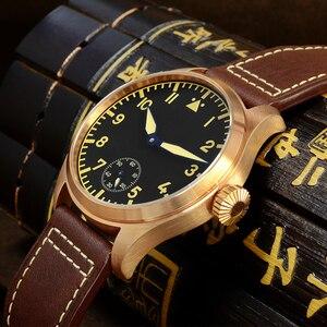 Image 4 - サンマーティンブロンズパイロットメンズ腕時計手動機械式サファイア革ストラップ発光防水シースルーケースバック