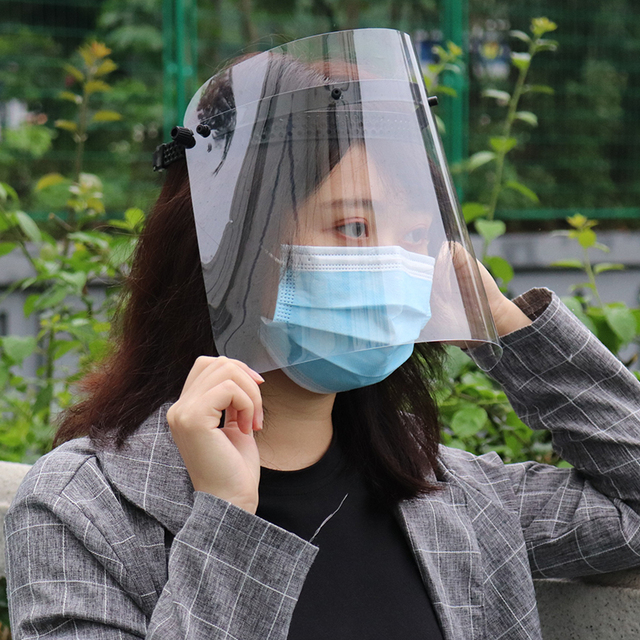 Anti Droplet Dustproof Mask Anti-Saliva Flu Full Face Cover Mask Windproof Protective Mask Adjustable Face Shield Washable 4