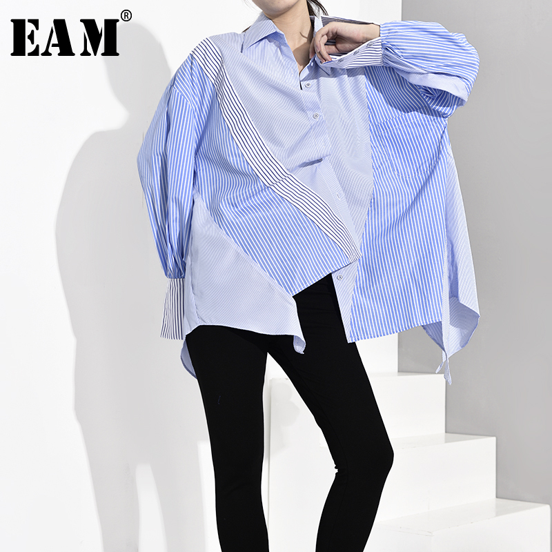 [EAM] Women Blue Striped Asymmetrical Oversized Blouse New Lapel Long Sleeve Loose Fit Shirt Fashion Spring Autumn 2020 JZ6870