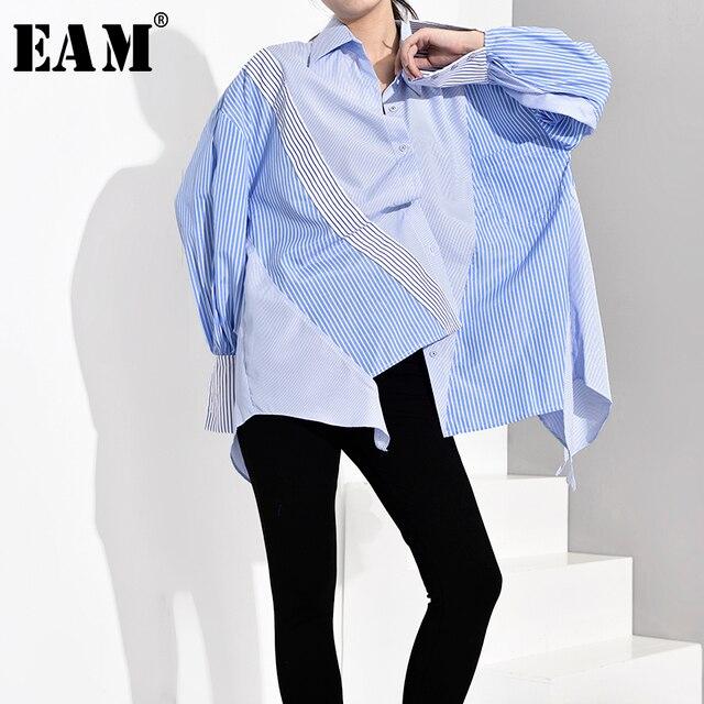 [Eam] feminino azul listrado assimétrico oversized blusa nova lapela manga longa solto ajuste camisa moda primavera outono 2020 jz6870