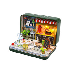 Miniature-Kit Doll-House Building-Theatre Wooden Box with Led-Light-Toys for Children