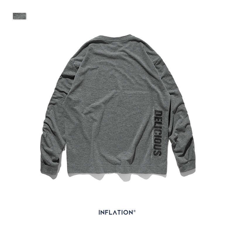 INFLATIE ONTWERP Mannen Lange Mouw T-shirt In Grijs Ontspannen Mannen T-shirt Met Borst Print Streetwear Mode Herfst Tshirt 91513W