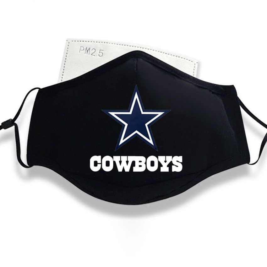 Cotton PM2.5 Black Mouth Mask Anti Dust Mask Activated Carbon Filter Windproof Cowboys Steelers Vikings Packers
