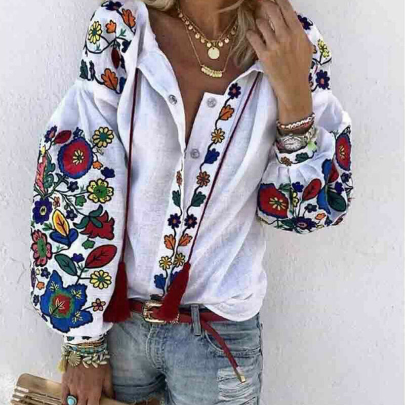 2019 Autumn Women's Tops Shirt Long Sleeve Loose Casual V-neck Floral Print T-Shirts Beach Holiday Streetwear