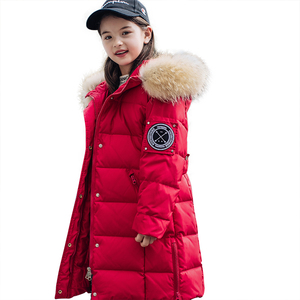 Image 2 - 2020 חורף חם ילדה למטה מעילים ארוך עיצוב ילדים למטה מעיילי מעיל אמיתי פרווה ילדי נער עבה למטה הלבשה עליונה 30 תואר