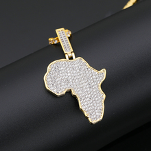 Selected hip hop zircon pendant from Africa Zircon Pendant Genuine Gold Color Jewelry Map Pendan Mens Hip Jewelryt