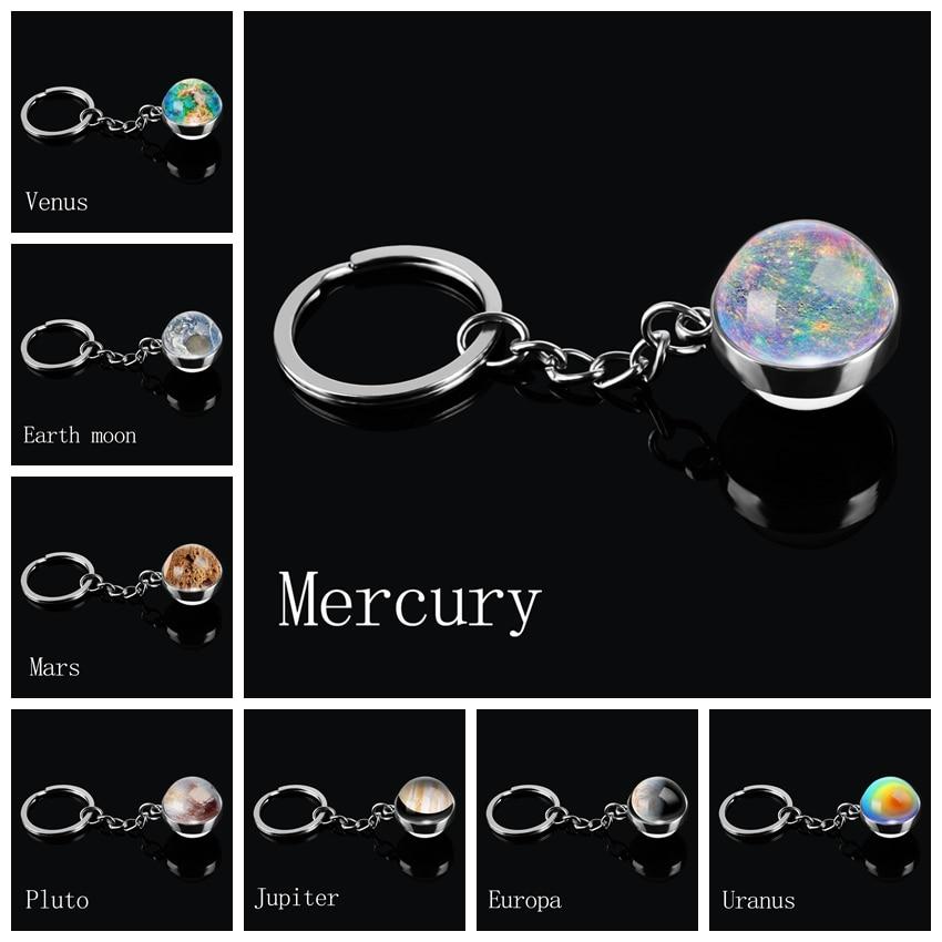 Universe Planet Double Side Glass Ball Keychain Personality Car Keyring Fashion Jewelry For Men Women Mercury Venus Earth Moon