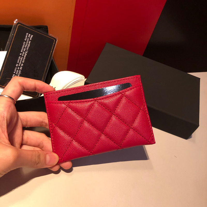 New High-end Customized Brand Luxury Women's Card Bag Credit Card Clip Cardholder Change Clip Caviar Cowhide Production