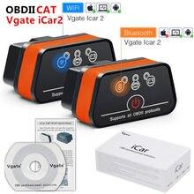 Vgate icar2 elm327 v2.1 obd obd2 wifi bluetooth scanner ferramenta de diagnóstico adaptador wi-fi elm 327 v 2.1 obdii icar 2 ii wi fi varredura