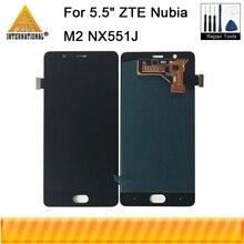 "Axisinternational جديد شاشة الكريستال السائل ل 5.5 ""ZTE النوبة M2 NX551J شاشة LCD + محول رقمي يعمل باللمس ل Zte M2 عرض كامل الجمعية"