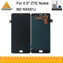 """Axisinternational novo display lcd para 5.5 """"zte nubia m2 nx551j tela lcd + digitador do painel de toque para zte m2 conjunto exibição completa"""