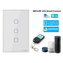 Sonoff T2US3C TX 3 gang interruptor inteligente 433mhz controle sem fio rf app/temporizador de controle de toque uscompatível com o google casa