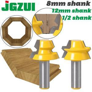 """Image 1 - 2 adet kilit gönye yönlendirici 22.5 derece tutkal doğrama yönlendirici Bit 1/2 """"12mm Shank 8mm shank ağaç İşleme kesici Tenon ahşap için kesici"""