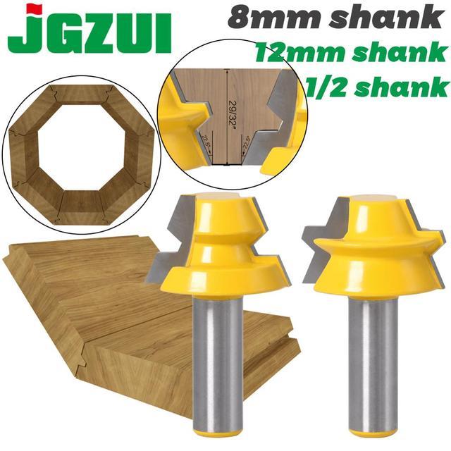 """2 adet kilit gönye yönlendirici 22.5 derece tutkal doğrama yönlendirici Bit 1/2 """"12mm Shank 8mm shank ağaç İşleme kesici Tenon ahşap için kesici"""