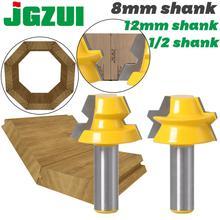 """Enrutador de inglete de bloqueo, 2 piezas, pegamento de 22,5 grados, rebajadora de carpintería, broca vástago de 1/2 """"12mm, vástago de 8mm, cortador de espiga para madera"""