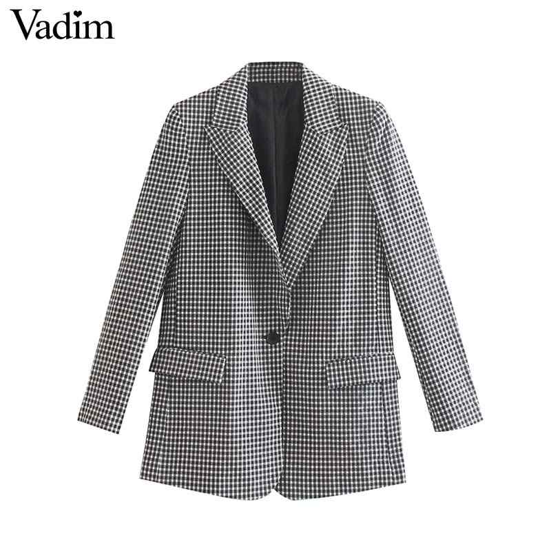 Vadim frauen formale karierten blazer kerb kragen checkered langarm taschen jacke weibliche büro tragen mantel top CA532