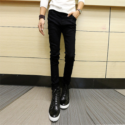 Spring And Autumn MEN'S Jeans Men's Slim Fit Skinny Pants Korean-style Medium Waist Elasticity Teenager MEN'S Trousers Gong Ku F