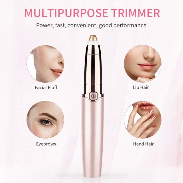 Electric Eyebrow Trimmer Shaver Women Eyebrow Painless Hair Removal Pens Makeup Mini Eye Brow Razor Portable Hair Epilator 2