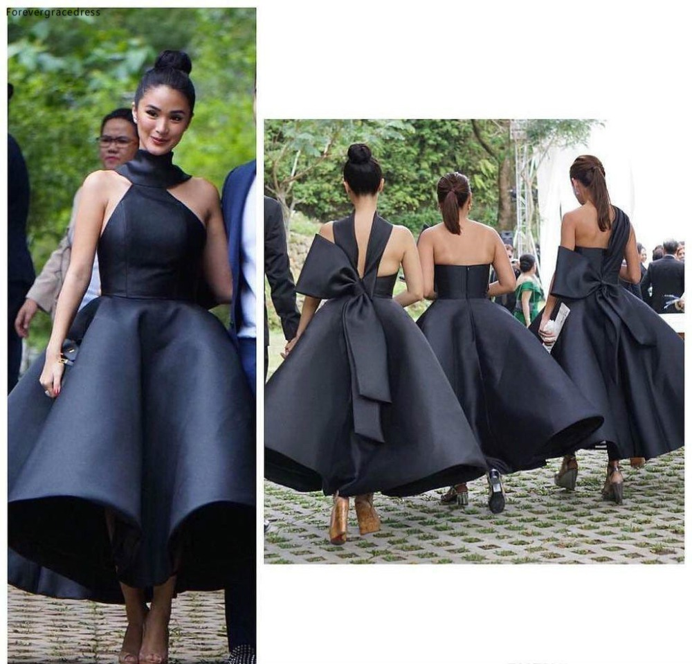 Black Elegant 2016 Arabic Bridesmaid Dresses Halter Ball Gown Satin Maid Of Honor Dresses Ankle Length Formal Party Gowns  91 (1)