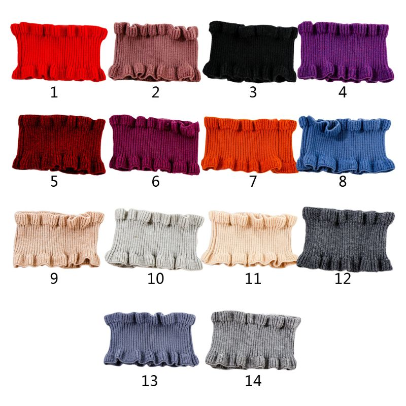 Women Winter Neck Warmer Ribbed Knit Ruffles Trim Solid Color Choker Fake Collar High Quality And Brand New