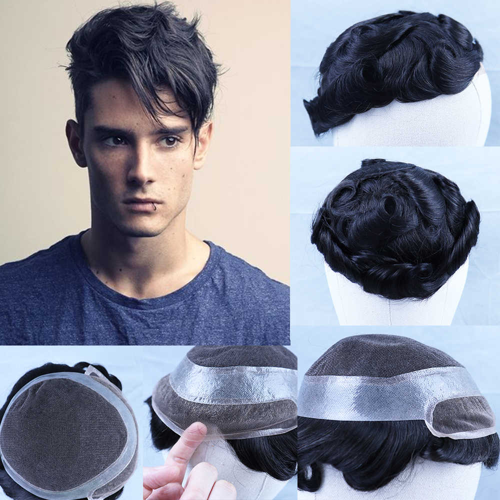 YY Wigs Natural Black Human Hair Toupee for Men Remy Hair Replacement System Swiss Lace & PU Dark Brown Mens Toupee 6 Inch Curly