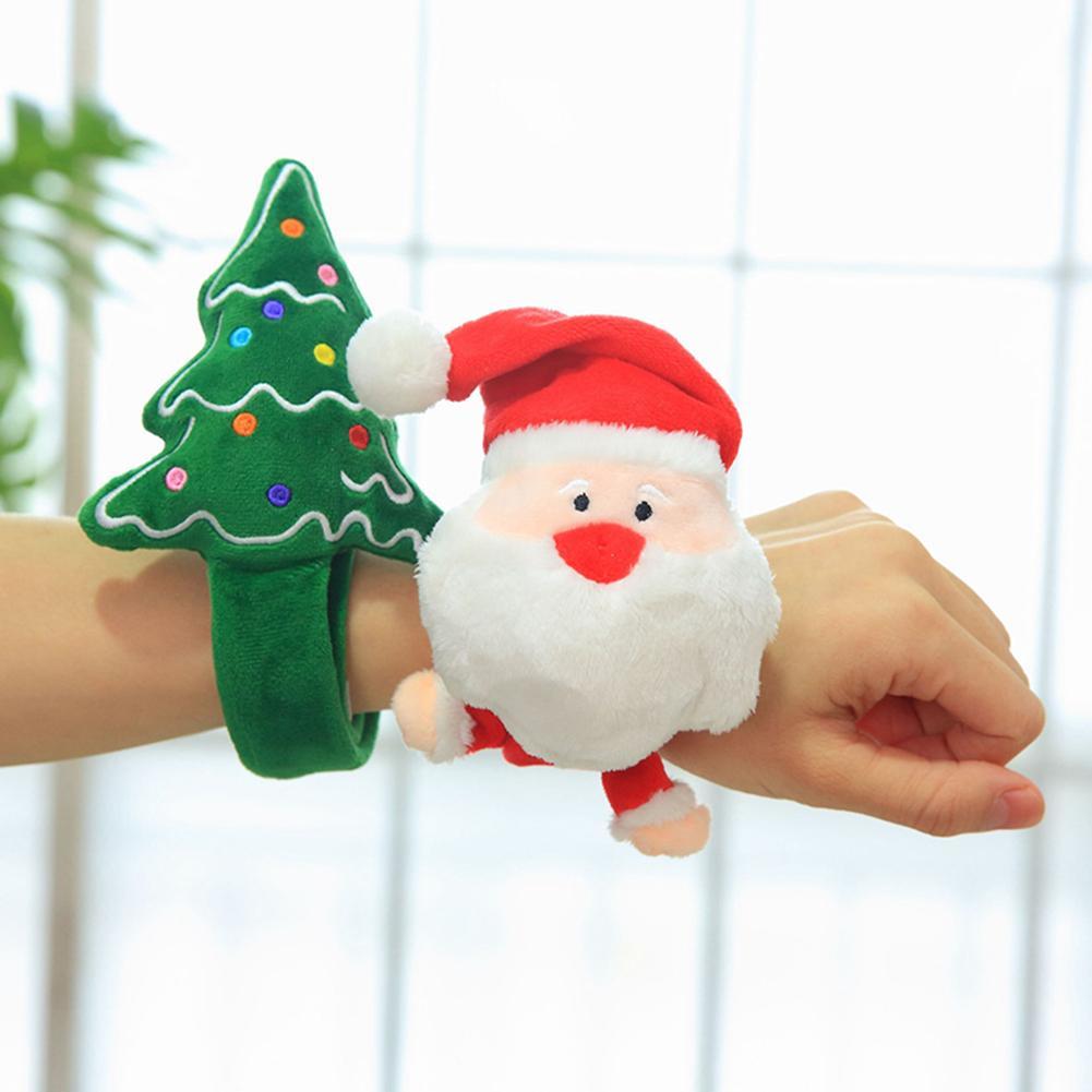 Christmas Patting Circle Bracelet Santa Claus Xmas Tree Short Plush PP Cotton Filled Iron Sheet New Year Party Toy Gift
