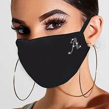 1pc Máscara Reutilizável Adulto Lettering E-Mascarillas-D ustproof lement Rhinestone Padrão Máscaras Respirável Lavável Algodão Маска