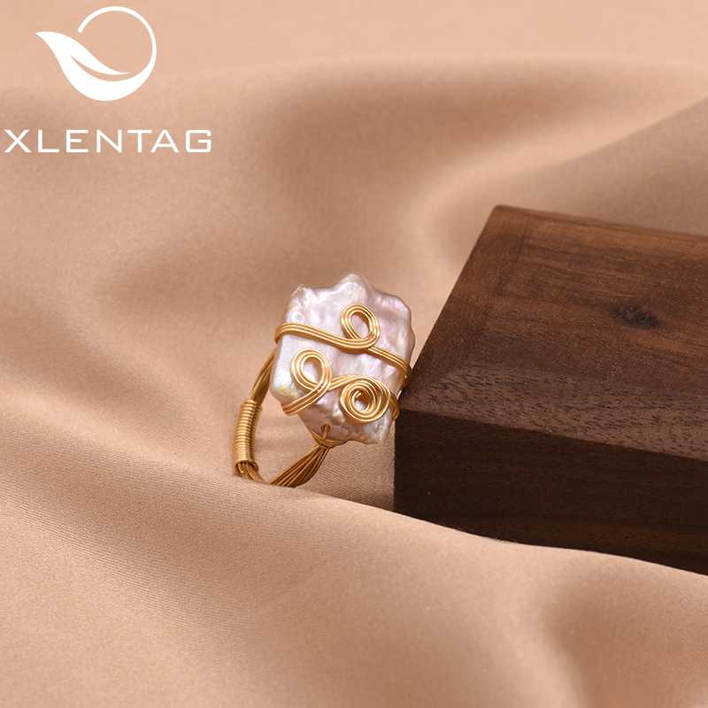 XlentAg Baroque Pearl Ring Minimalism Geometric For Women Lovers' Wedding Engagement  Luxury Handmade Fine Jewellery GR0250