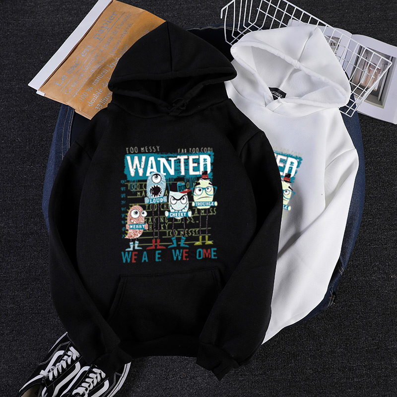 Cartoon bacterial print mens winter hoodies Oversized 3XL Harajuku Western style Warm clothes teen Men/women hip hop sweatshirt